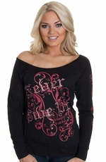 "Cowgirl Tuff Women's ""Never Give Up"" Top - Black"