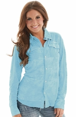 Cowgirl Tuff Womens Barely Burnt Snap Shirt - Blue