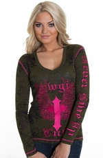 Cowgirl Tuff Womens Burnout Logo Top - Green