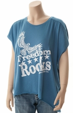 Cowgirl Tuff Womens Freedom Rocks Top - Blue