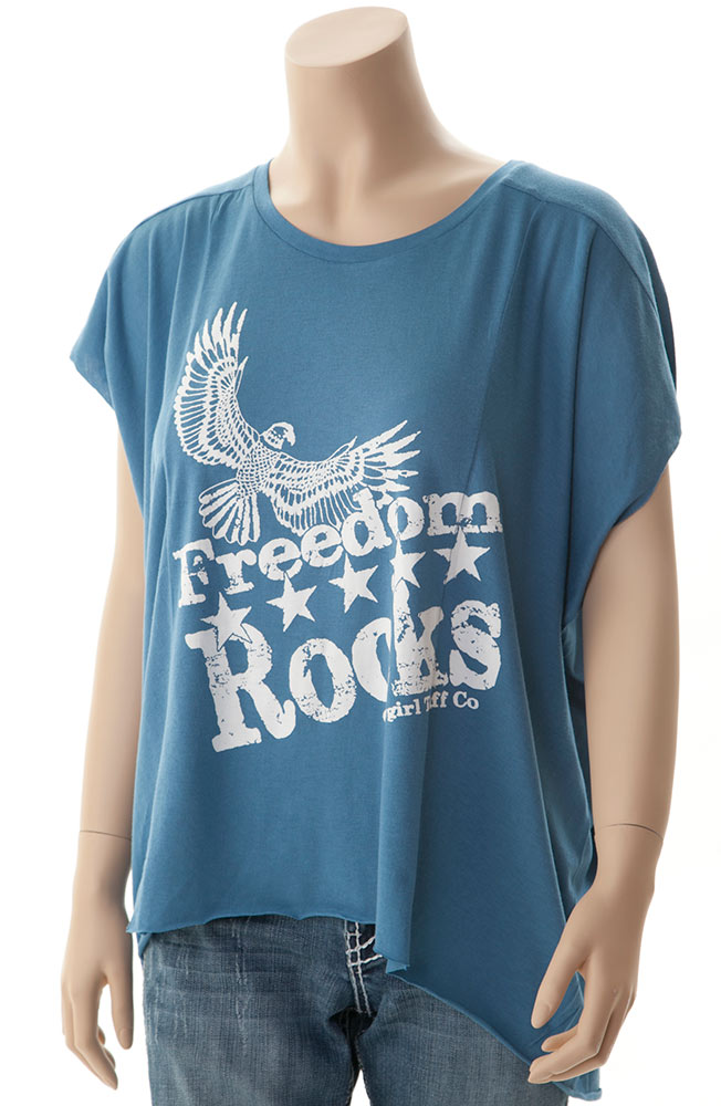 Cowgirl Tuff Womens Freedom Rocks Top - Blue (Closeout)