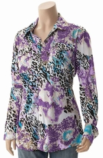 Cowgirl Tuff Womens Long Sleeve Leopard Button Down Top - Purple