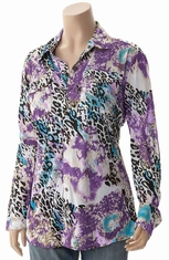 Cowgirl Tuff Womens Long Sleeve Leopard Button Down Top - Purple (Closeout)