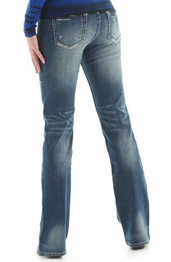 Cowgirl Tuff Womens Midnight Blue Mid Rise Slim Fit Boot Cut Jeans (Closeout)