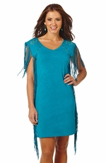 Cowgirl Up Women's Sleeveless Fringe Dress - Teal