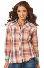 Cowgirl Up Women's Long Sleeve Plaid Western Shirt (Closeout)