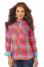 Cowgirl Up Women's Long Sleeve Plaid Western Shirt