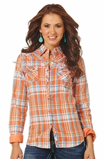 Cowgirl Up Women's Long Sleeve Plaid Western Shirt - Orange
