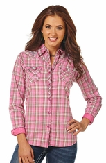 Cowgirl Up Women's Long Sleeve Plaid Western Shirt - Pink (Closeout)