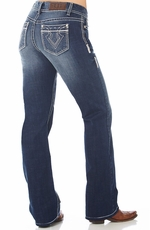 Cowgirl Up Womens 201 Mid Rise Boot Cut Jeans - Med Stone
