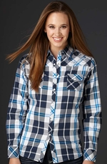 Cowgirl Up Womens Long Sleeve Embroidered Plaid Western Shirt - Blue (Closeout)