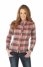 Cowgirl Up Womens Long Sleeve Embroidered Plaid Western Shirt - Red