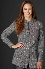 Cowgirl Up Womens Long Sleeve Tunic Length Western Shirt - Grey (Closeout)