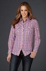 Cowgirl Up Womens Long Sleeve Plaid Western Shirt