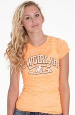 Cowgirl Up Womens Short Sleeve Neon Arch Burnout Tee Shirt - Orange