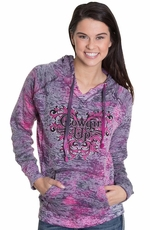 Cowgirl Up Womens Stacked Scroll Hoodie - Raspberry Swirl