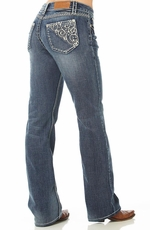 Cowgirl Up Womens Summer Morning Boot Cut Jeans - Light Stone