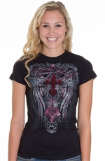 Cowgirl Up Womens Vintage Wing Cross Burnout Tee- Black (Closeout)