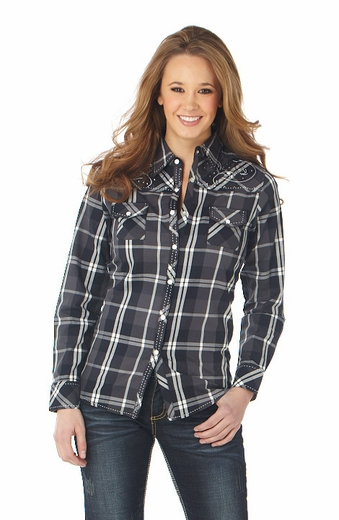 Cowgirl Up Womens Long Sleeve Embroidered Plaid Western Shirt - Grey