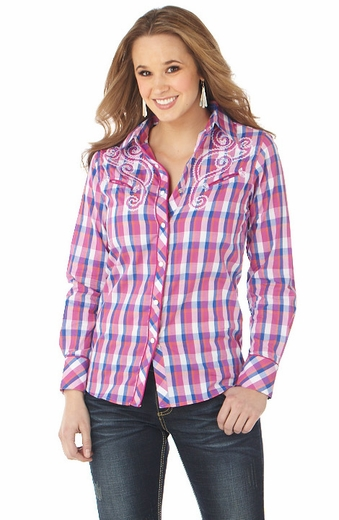 Cowgirl Up Womens Long Sleeve Embroidered Plaid Western Shirt - Pink