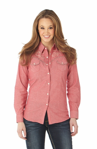 Cowgirl Up Womens Long Sleeve Embroidered Solid Western Shirt - Red