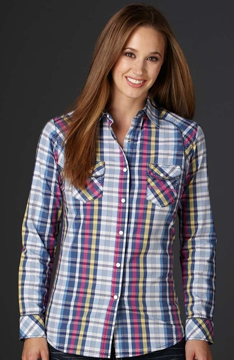 Cowgirl Up Womens Long Sleeve Plaid Western Shirt - Pink (Closeout)