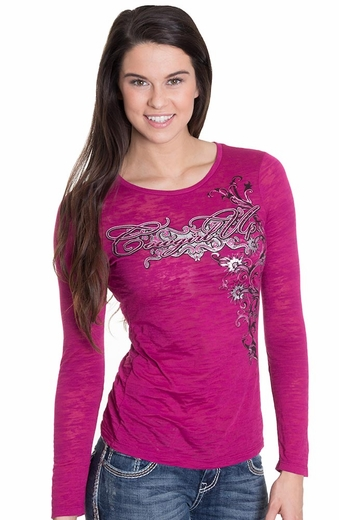 Cowgirl Up Womens Wild Spur Burnout Tee - Raspberry (Closeout)