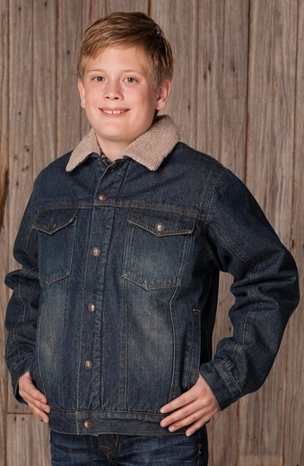 Cripple Creek Childrens Sherpa Lined Denim Jacket