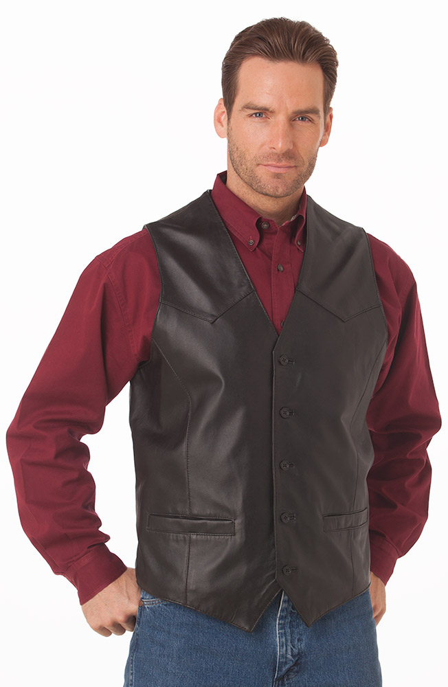 Cripple Creek Mens Basic Vest with Button Front - Black