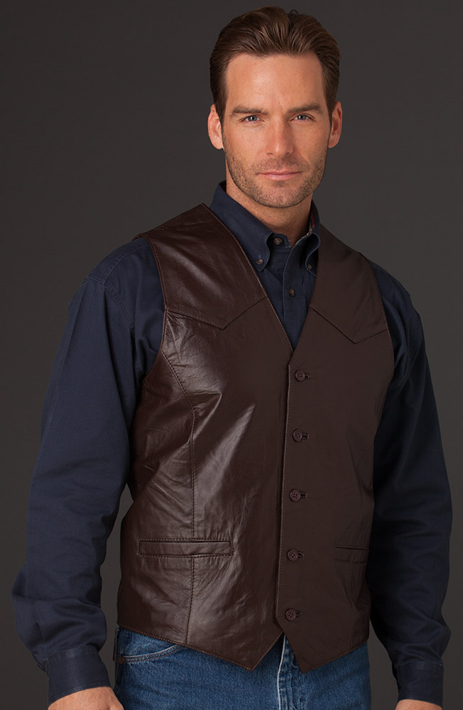 Cripple Creek Mens Basic Vest with Button Front - Chocolate