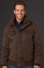 Cripple Creek Mens Coated Canvas Jacket - Antique Chocolate (Closeout)