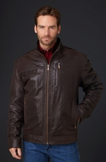 Cripple Creek Mens Distressed Zip Front Jacket - Antique Chocolate