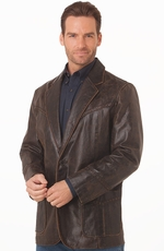 Cripple Creek Mens Hand Laced Leather Blazer - Vintage Brown