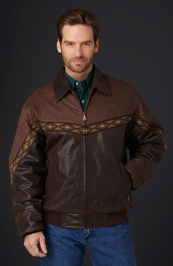 Cripple Creek Mens Two-Tone Zip Front Jacket - Antique Chocolate (Closeout)