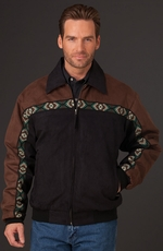 Cripple Creek Mens Two Tone Southwest Border Microsuede Jacket - Black