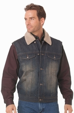 Cripple Creek Mens Sherpa Lined Vest - Dark Indigo