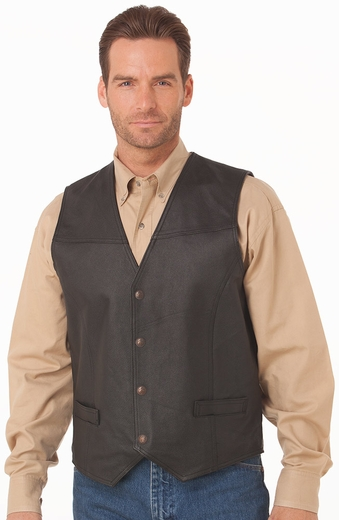 Cripple Creek Mens Leather Vest - Black