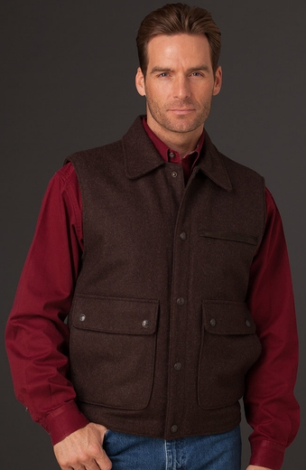 Cripple Creek Mens Wool Collared Vest with Nubuck Leather Trim - Chocolate