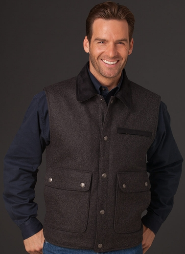 Cripple Creek Mens Wool Vest with Microsuede Trim - Charcoal