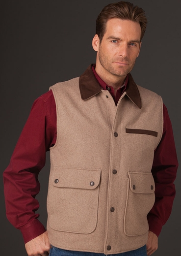 Cripple Creek Mens Wool Vest with Microsuede Trim - Oatmeal