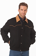 Cripple Creek Mens Wool Snap Jacket with Piping - Black