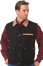 Cripple Creek Mens Wool Vest with Microsuede Trim - Black