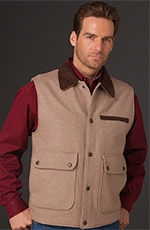 Cripple Creek Mens Wool Vest with Microsuede Trim - Oatmeal (Closeout)