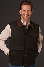 Cripple Creek Mens Wool Vest with Microsuede Trim - Pine