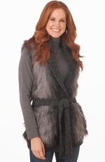 Cripple Creek Womens Faux Fur Vest - Heather Black (Closeout)