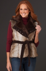 Cripple Creek Womens Faux Fur Vest  - Sable (Closeout)