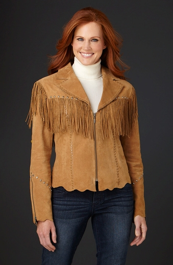 Cripple Creek Womens Hand Laced & Studded Twisted Fringe Jacket (Closeout)