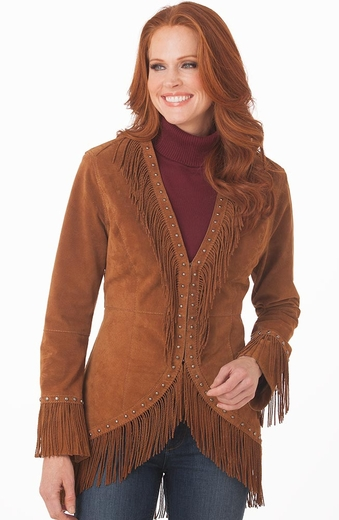 Cripple Creek Womens Studded Twisted Fringe Open Front Leather Jacket