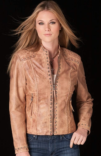 Cripple Creek Womens Studded Zip Front Leather Jacket