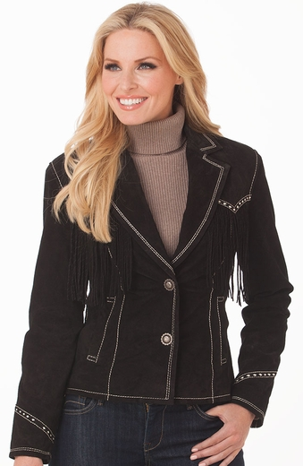 Cripple Creek Womens Twisted Fringe Snap Front Leather Jacket (Closeout)
